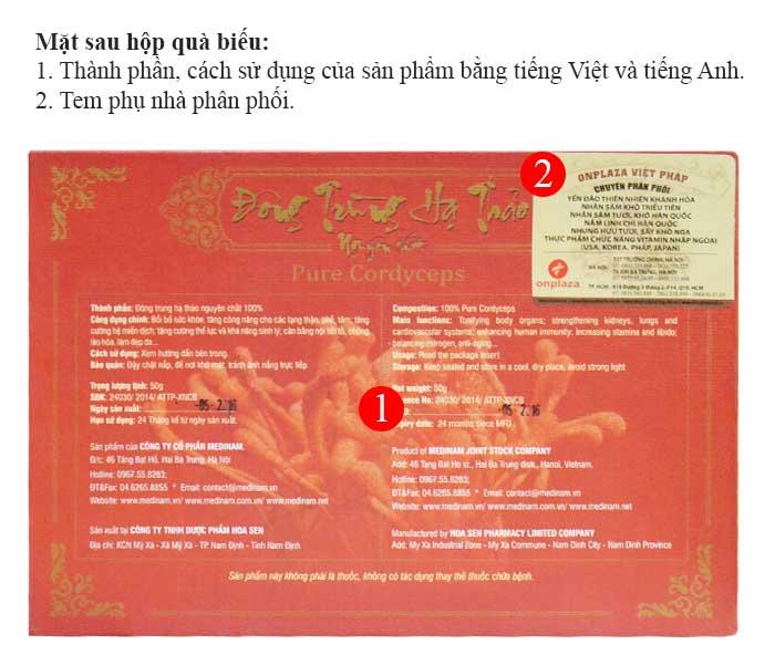Chi tiết mặt sau của hộp nấm đông trùng hạ thảo khô Việt Nam