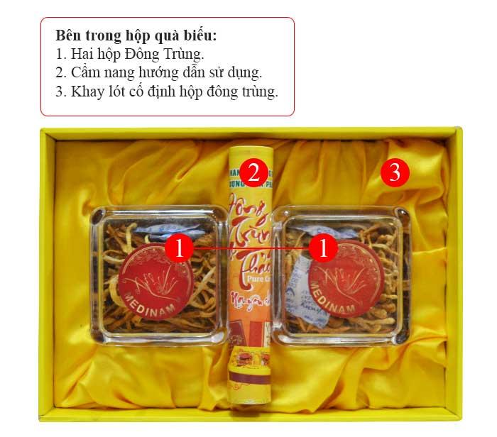 Đông trùng hạ thảo Việt được đựng vào 2 hộp nhựa nhỏ bên trong