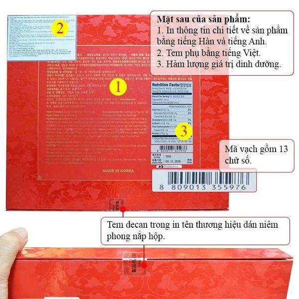 Mặt sau và tem dán trên nắp hộp sản phẩm