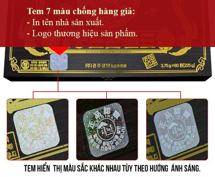 Tem chống hàng giả được dán trên hộp sản phẩm