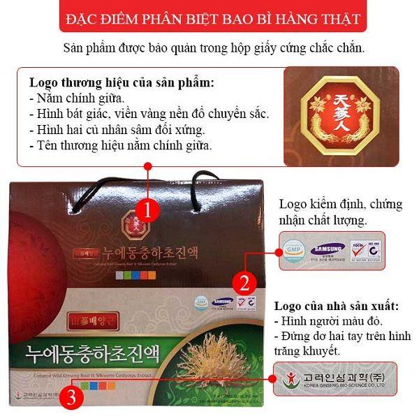Đặc điểm trên hộp tinh chất đông trùng hạ thảo Hàn Quốc
