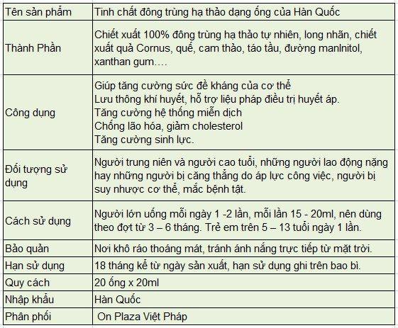Thông tin về sản phẩm Tinh chất đông trùng hạ thảo dạng ống của Hàn Quốc