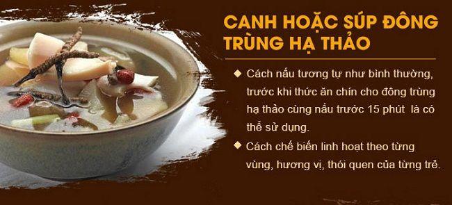 Nấu canh hoặc súp đông trùng hạ thảo
